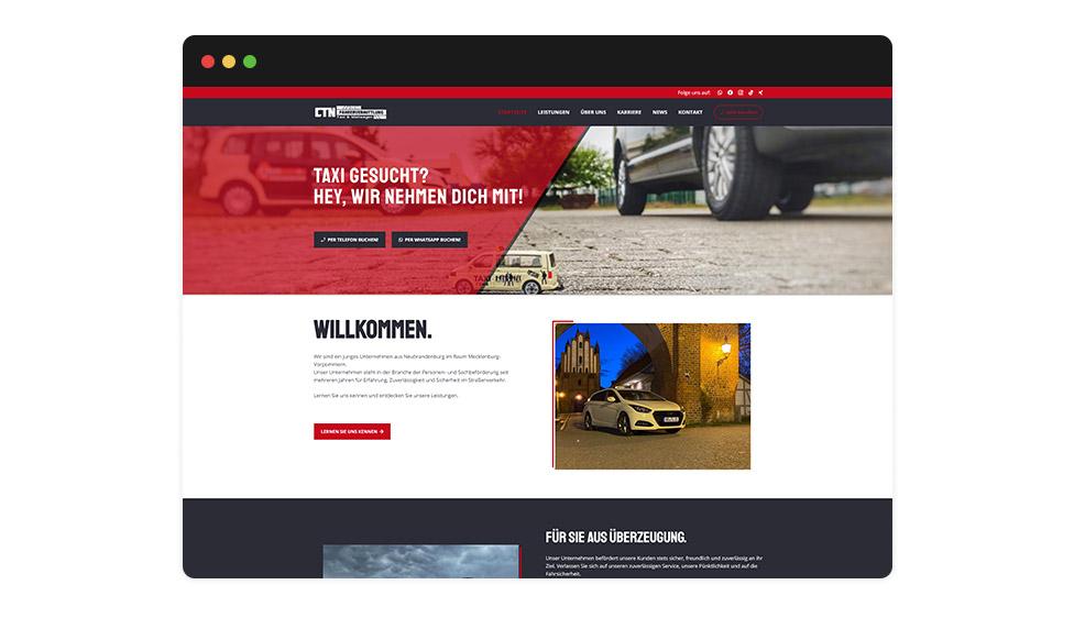 Website CTN Deine Fahrervermittlung - Taxi & Mietwagen Browser